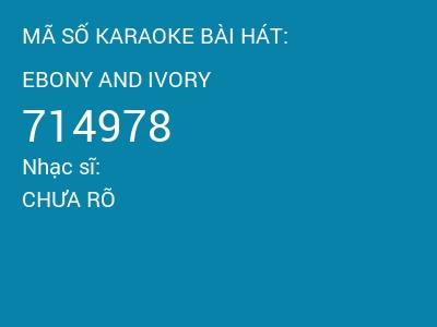 Ebony and ivory karaoke